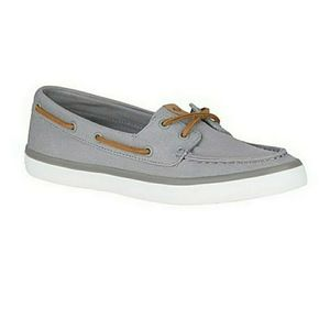 Sperry boat shoe - grey w/ brown laces - s…